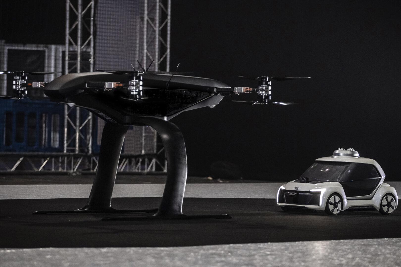 Drohne und E-Auto als Flugtaxi