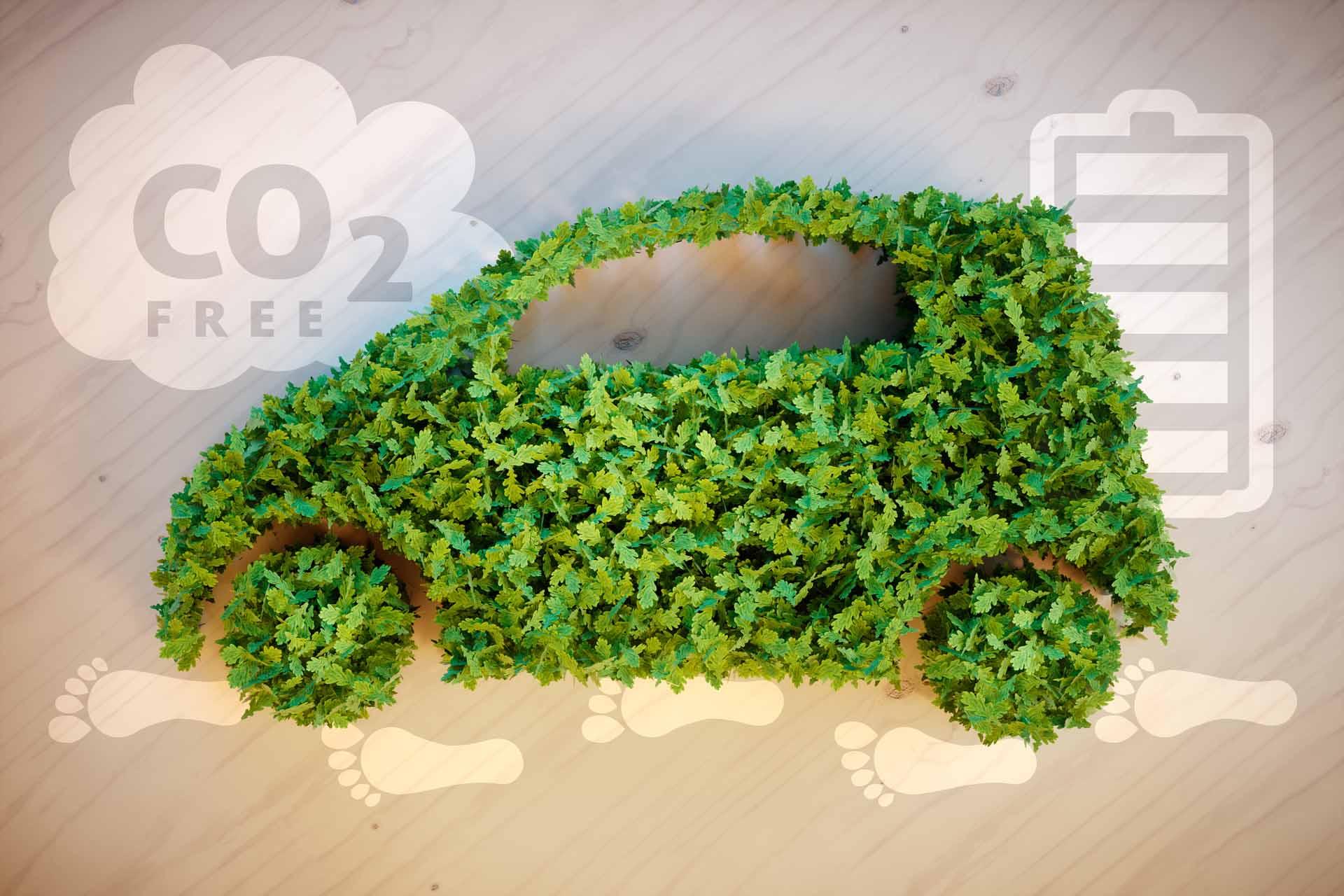 Ein Auto aus Blättern mit einer CO2 Wolke und Batterie im Hintergrund.