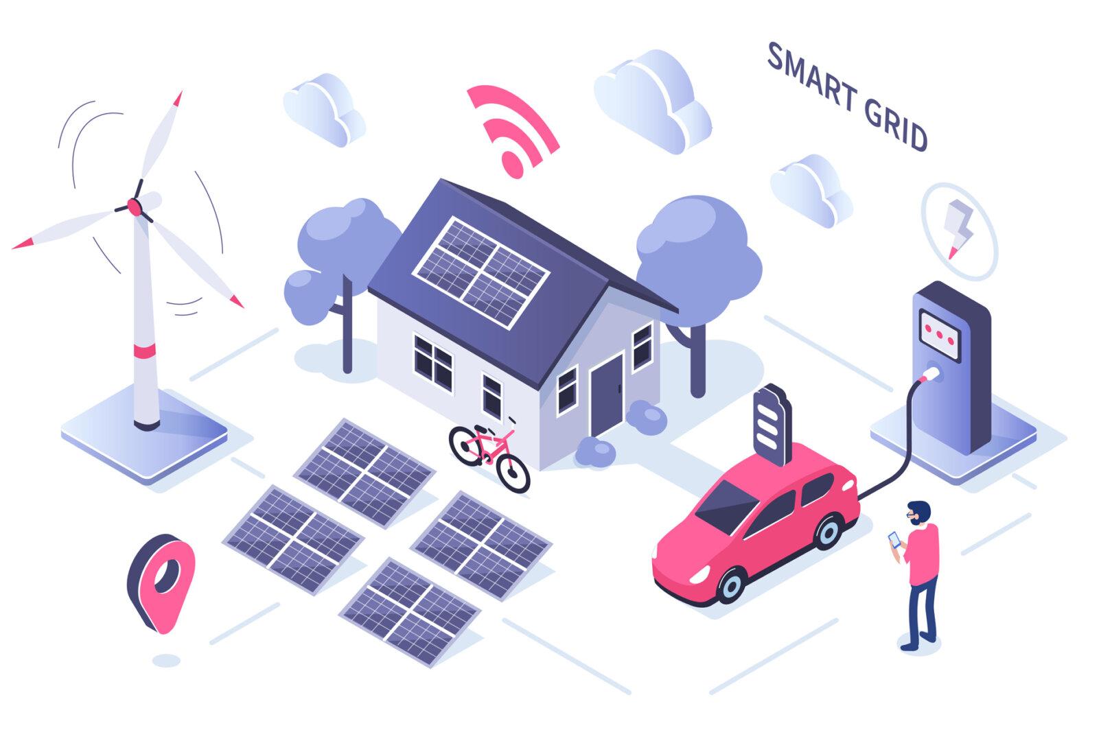 Smart Grid Grafik E-Mobilität