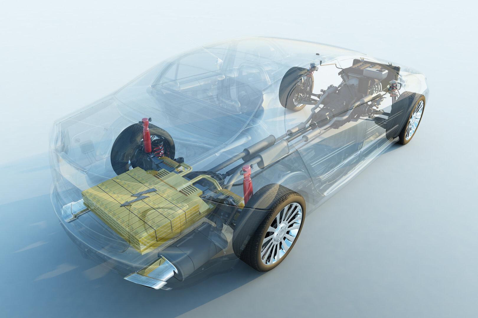 Transparentes Auto mit Ansicht auf die inneren Bauteile