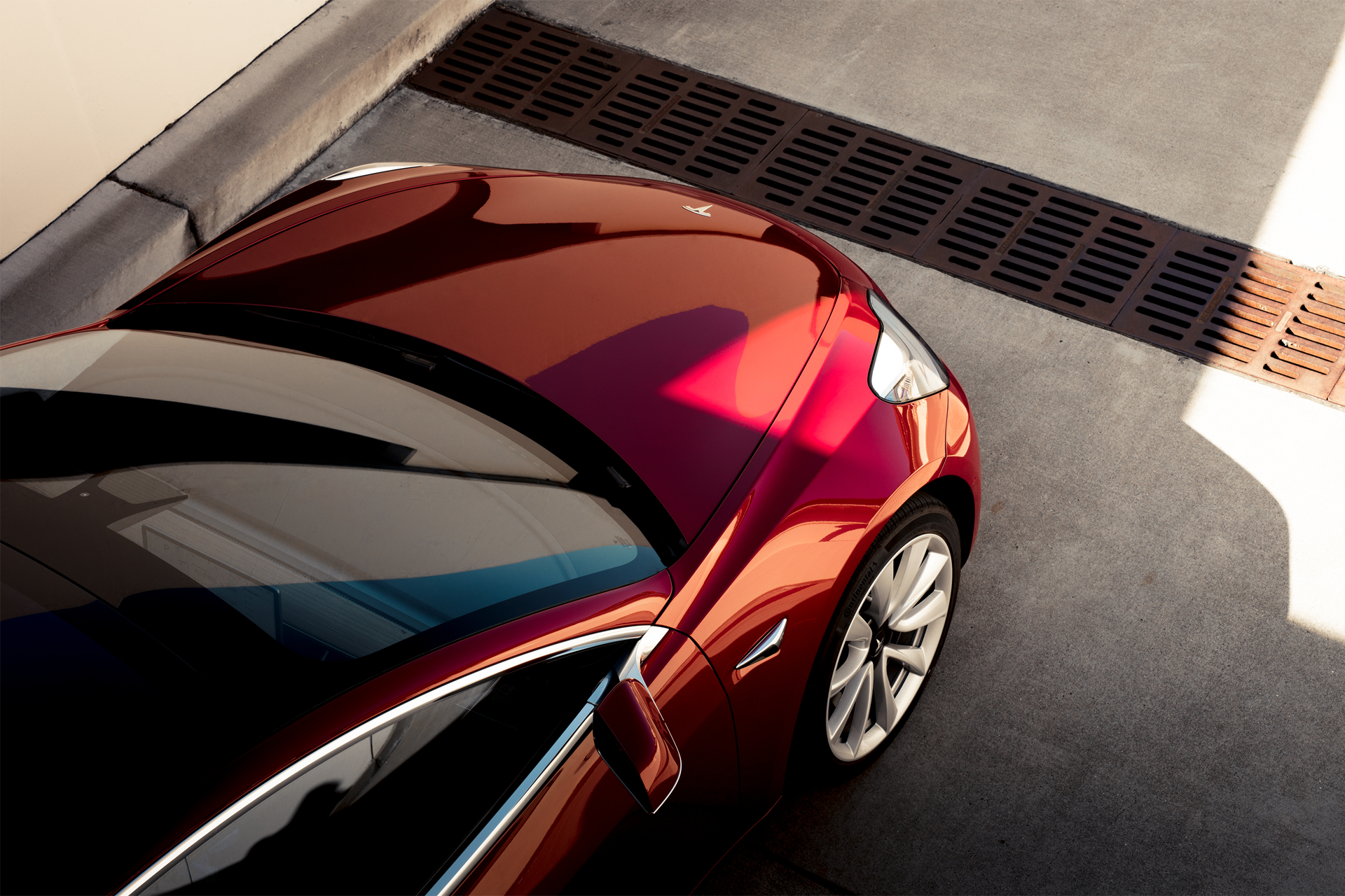 Tesla Model 3 - Red Overhead