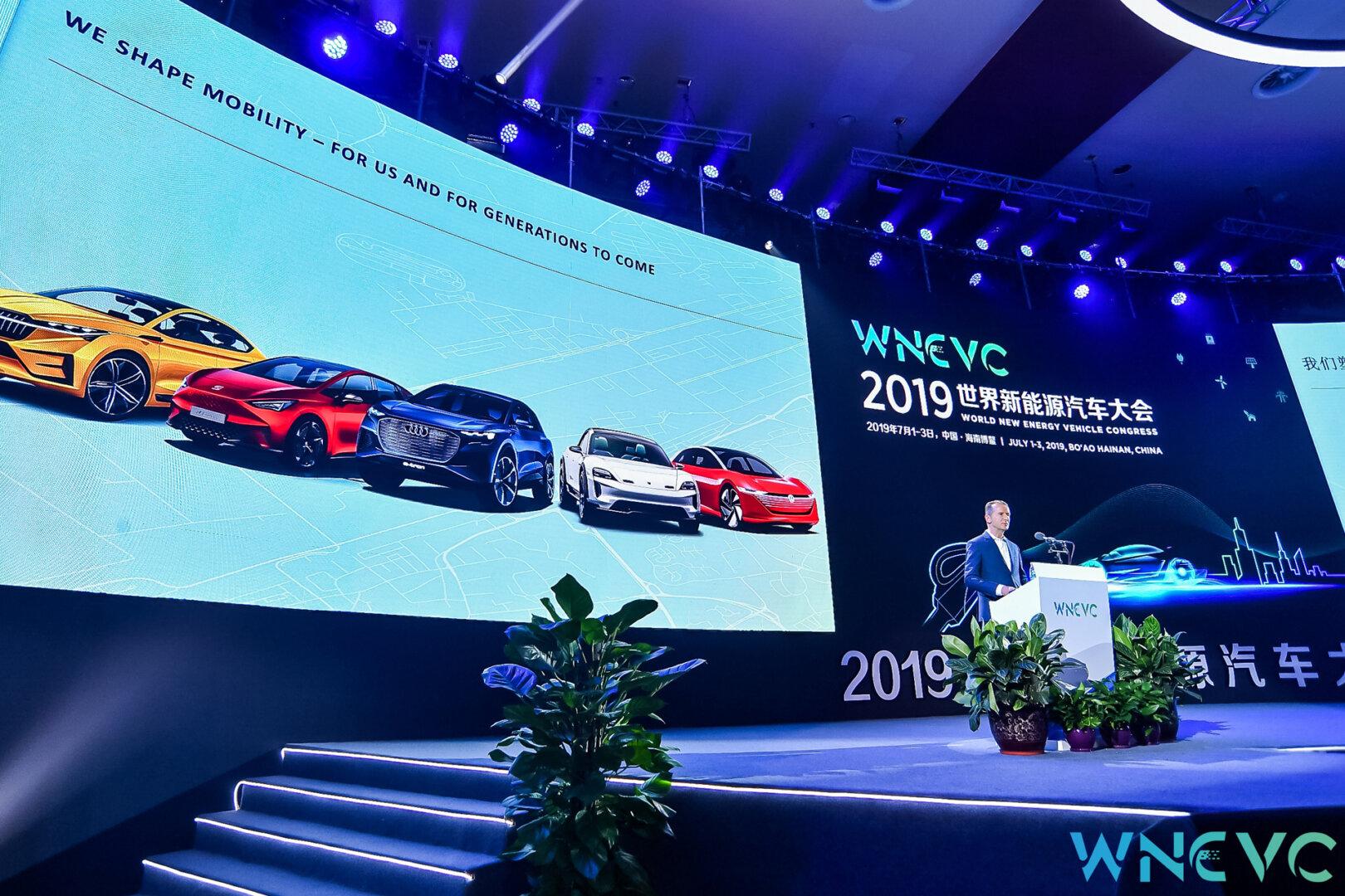 Volkswagen Konzernchef Herbert Diess auf dem World New Energy Vehicle Congress