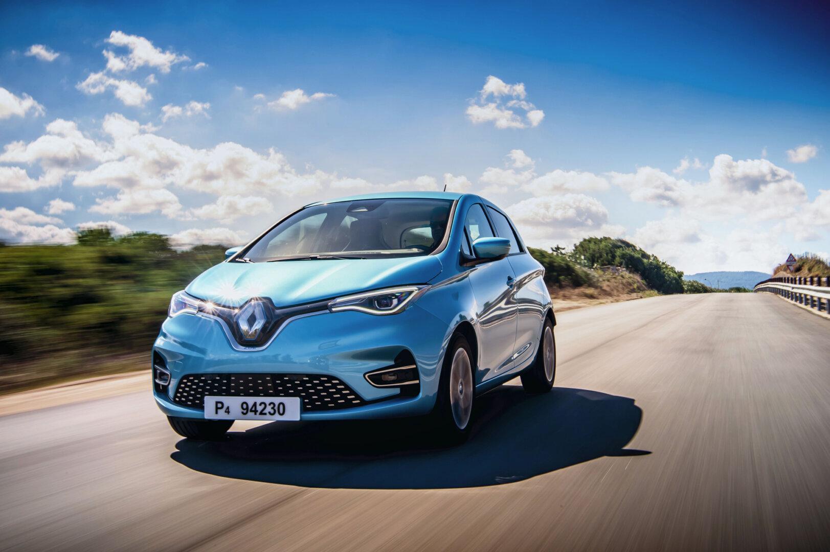 Blauer Renault Zoe Elektroauto